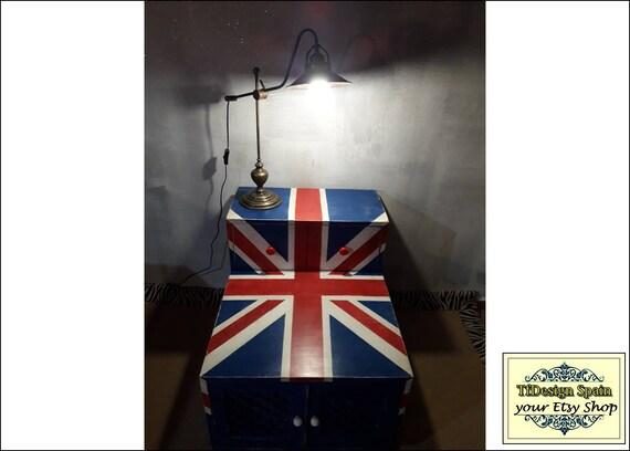 Mueble con bandera británica, Mueble salón bandera inglesa, Mueble salón de madera, Muebles con bandera británica,Mueble madera con puertas