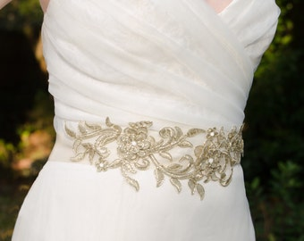 Gold Beaded Sash, Gold Lace Sash with Pearls or Rhinestones, Gold Sash, Bridal Sash, Unique Sash, Gold Rhinestone Sash - RUE