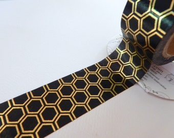 BLACK HONEYCOMB - Foil Tape - 10 yards - Gift Wrap - Packaging - Paper Tape - Black - Gold