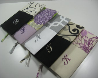 Set of 7 - Embroidered Clutches - Personalized Pouches - Zippered Pouch - Bridesmaid Clutch -Your Choice - Made To Order