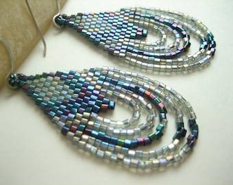 Angeline. Beaded Earrings. Brick Stitch Earrings. Native American Style Beadwork Earrings.