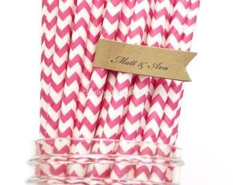 50 Paper Straws, Hot Pink Straws, Vintage Baby Shower Birthday Straws Rustic Wedding Party Supplies Pink Lemonade Party Cake Pop Sticks
