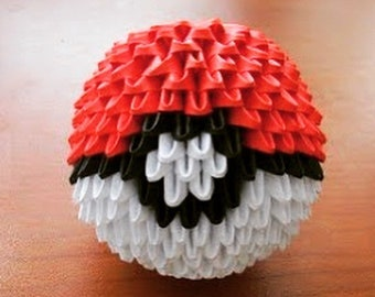 3d Origami - Pokemon Pokeball - Red, Black & White