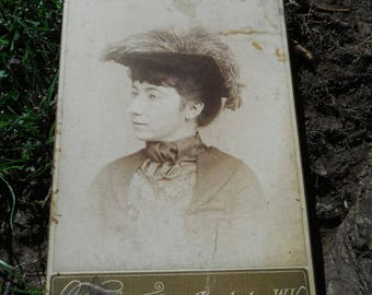 Victorian Cabinet Card Photo - Lady Wearing Feathered Hat - Charleston WV