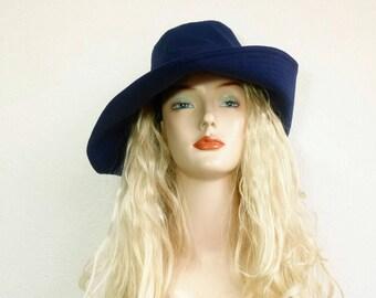 Deep blue cotton sunhat