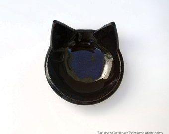 Black Cat Bowl, Ceramic, Pottery - Handmade, Cat Food Bowl, Halloween Candy Dish, Jewelry Dish, Jewelry Holder - Gifts for Pet Lovers