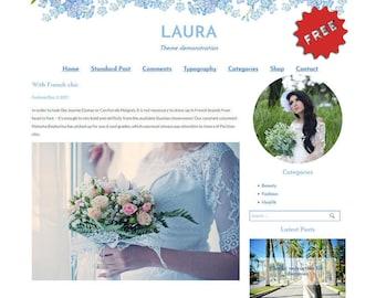 Wordpress Theme - Blue Flowers, WordPress Blog Theme - WordPress Mobile Blog - WordPress Template Blog