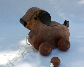 Wooden Puppy Dog Pull Toy