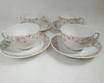 Vintage Porcelain Set of 4 Pink Rose Teacup and Saucer Set