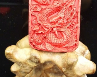 Free Delivery Natural AAA red Cinnabar charm luck Square dragon carved pendant and necklace