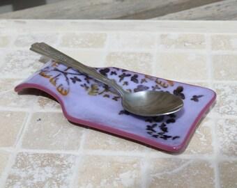 Spoon rest, fused glass, fused glass spoon rest, butterfly spoon rest, butterfly fused glass spoon rest, fused spoon rest, glass spoon rest