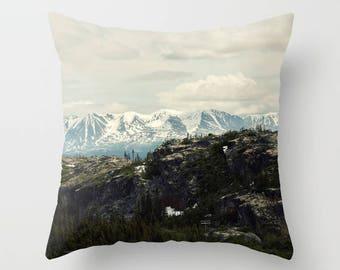 british columbia, yukon territory, canada landscape photography throw pillow cover, mountain wall art, klondike highway alaska