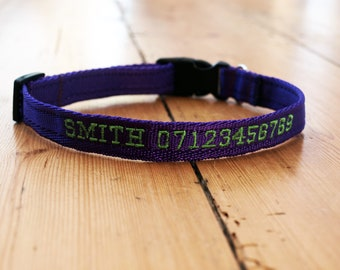 Personalised cushion webbing dog collar in various colours