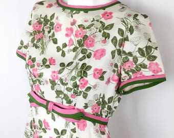 Stunning Vintage Liberty of London Dress || Midcentury Pink and Green Linen Dress || 1950's 1960's Tailored by Jamison Dress || Medium