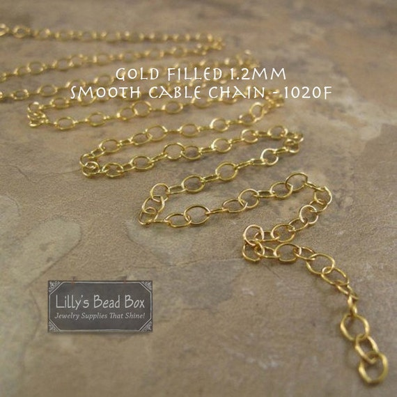 5 Feet of Thin Gold Chain, 14k Gold Filled Smooth Cable Chain, Five Feet, 1.2mm Small Gold Jewelry Chain for Jewelry (1020f)