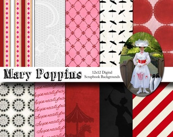 Disney Mary Poppins Inspired 12x12 Digital Paper Backgrounds for Digital Scrapbooking, Party Supplies, etc -INSTANT DOWNLOAD -