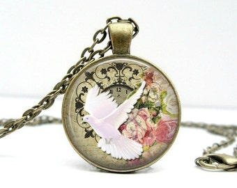 Dove Necklace: Peace Dove. Easter. Gift for Her. Jewelry. Handmade. Pendant. Necklace. Spring. Flower. Pink. Bronze Jewelry