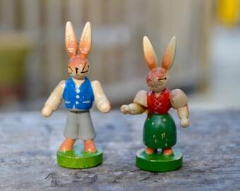 2 Vintage Tiny Wood Easter Rabbits . Handmade Painted.
