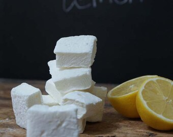 Freshly made lemon marshmallows