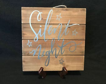 Square Wooden 'Silent Night' Sign