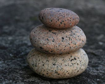 Natural Beach Stone Stack - Zen Balance - Table Decor - Large Sea Stones - Meditation - Relaxation Gift