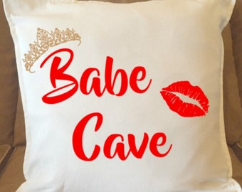 Babe Cave Pillow Cover/Dorm Room/Teens Room/Bedroom Accessories/Trendy