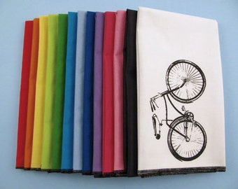 NAPKINS - super soft eco friendly reusable napkins - you choose how many - with BIKE print on any of my thirteen colors