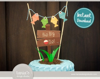 Gone Fishing - The Big One - Birthday Cake Topper - Instant Download - by Tania's Design Studio