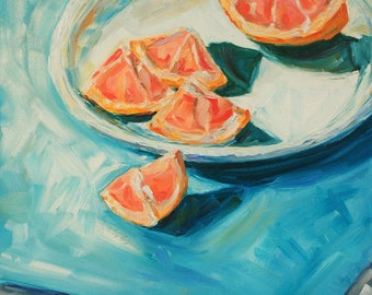 Still Life Fruit Painting - Original Oil Painting - Sliced Grapefruit Wedges - 16 x 20