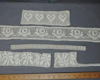 5 Vintage Edwardian Lace Pieces, Vintage 1900s Handmade Crochet Trim