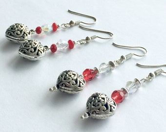 Filigree heart earrings, Mother's Day gift, Valentine's Day drop earrings, silver and red heart drop earrings