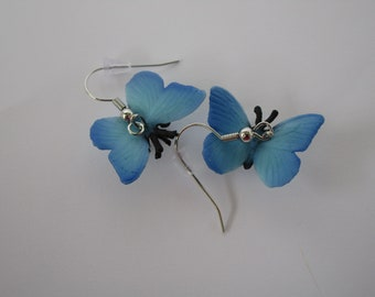 Blue Butterfly Insect Dangle Earrings (Sterling Silver or Nickle Free)
