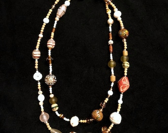vintage 1980's Artsy Craftsy Beaded Necklace • Stone and Glass Beads • Long • Hippie Boho Style