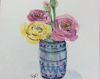 Ranunculas Watercolor Card / Hand Painted Watercolor Card