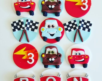 24  x  fondant cars cupcake Toppers