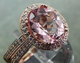 AAAA Pink Morganite Natural Unheated   10x8mm  2.33 Carats   in 14K rose gold diamond bridal set(.35ct) 1404 B108