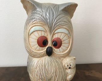 1960/70 Chalkware Owl With Baby