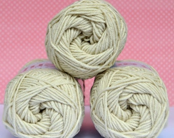 Kacenka - soft cotton/acrylic yarn for crochet and knitting, Ekru - beige color, No. 7114, 1 ball/50 g, Producer NCT
