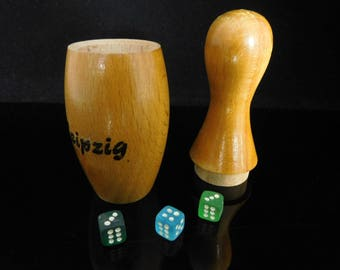 Vintage Table Game, collectible Toys, wooden bowling pin, Glass Dice, Dice cup with 3 pcs glass Dice / Germany Leipzig