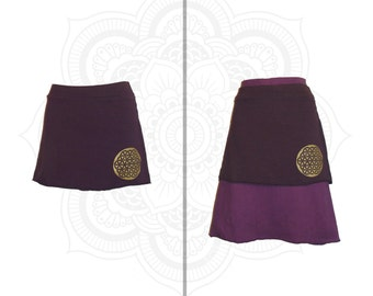 Organic Clothing Organic Skirt - Hemp and Organic Cotton Mini Skirt  with Flower of Life, Sacred geometry clothing - Choose from 15 colors