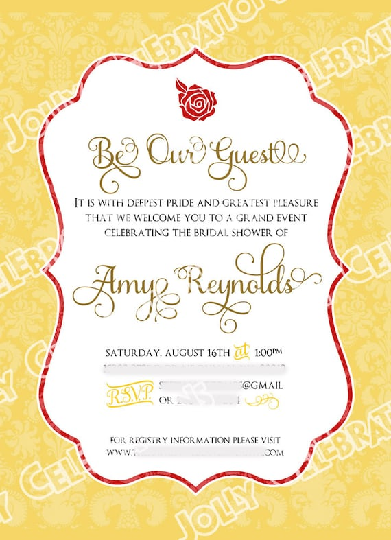 Belle or Beauty and the Beast Bridal Shower Invitation Party