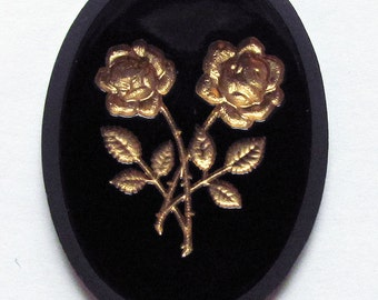 1 Rose Intaglio Black Glass Cabochon 40x30 mm Gold or Silver