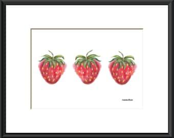Strawberry art print, strawberry decor, fruit art, strawberry pictures, small art prints, 5x7 art, PRINT ONLY