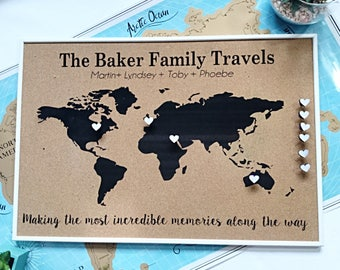 Push pin travel map etsy personalised push pin world map cork board map anniversary gift 5th anniversary gift gift for him travel gift personalised map gumiabroncs Image collections