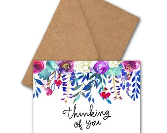 Thinking Of You Card With A Watercolor Floral Border - Bright Greeting Card - Watercolor Flowers - Card For Friend - Colorful Card - Digital