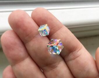 Cube Earrings, Post Earrings, Swarovski Earrings, Sensitive Ears, Cube Jewelry, Crystal Earrings, Square Earrings, Stainless Steel
