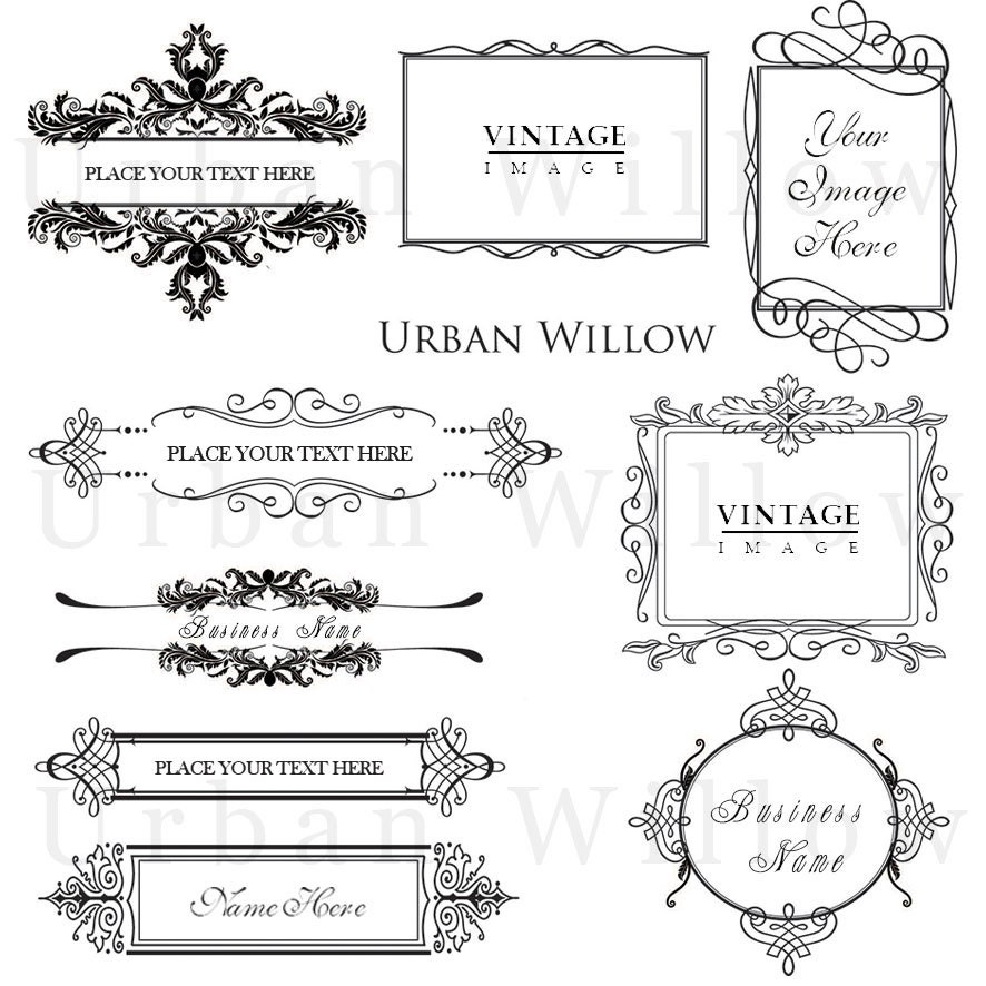 ORNAMENTAL VINTAGE FRAMES Pack 7 Digital Vintage Style