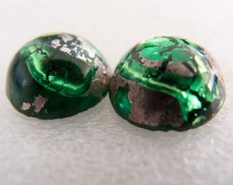 SALE PRICE - Vintage Japan Emerald Green Silver Foil Lampwork Cabochon - 12mm - Pair