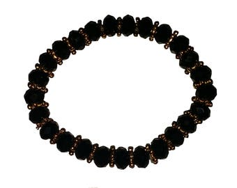 Black Crystal Beaded Bead Bracelet with Gold Tone Beads