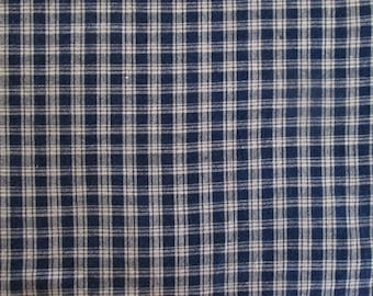 Blue and Beige Country Plaid Cotton Fabric 2 7/8 yards
